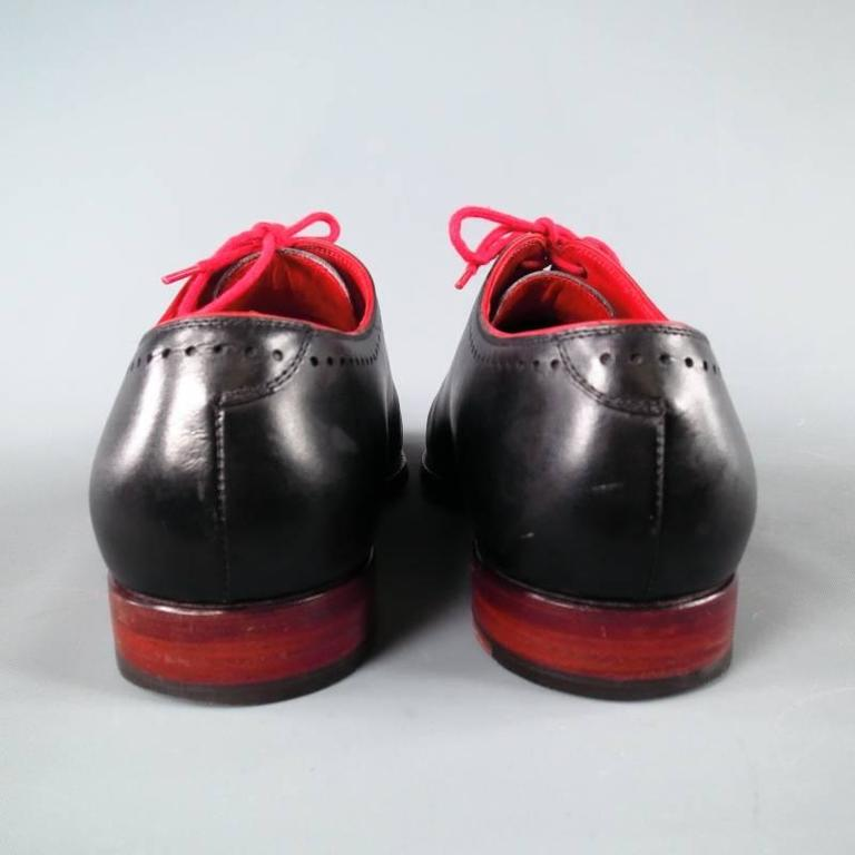 KITON Size 7.5 Men's Black & Red Leather Lace Up For Sale 5