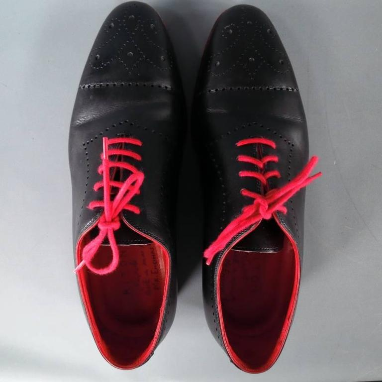 KITON Size 7.5 Men's Black & Red Leather Lace Up In Excellent Condition For Sale In San Francisco, CA