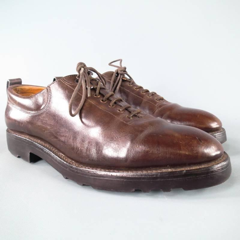 JOHN LOBB u0026quot;RALEIGHu0026quot; Size 8 Brown Leather Lace Up For Sale at 1stdibs