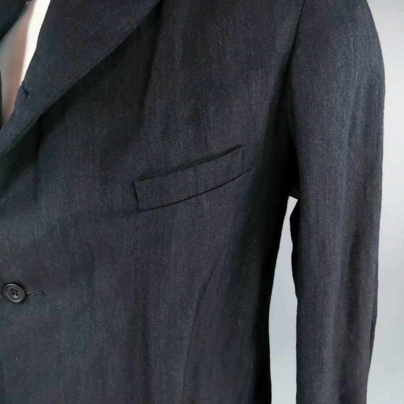 PAUL HARNDEN 42 Navy Textured Wool / Linen Peak Lapel Sport Coat ...