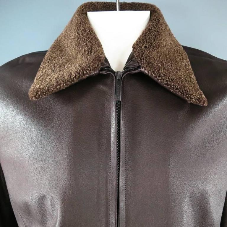 30908107 Z ZEGNA 42 Brown Leather Jacket With Detachable Collar