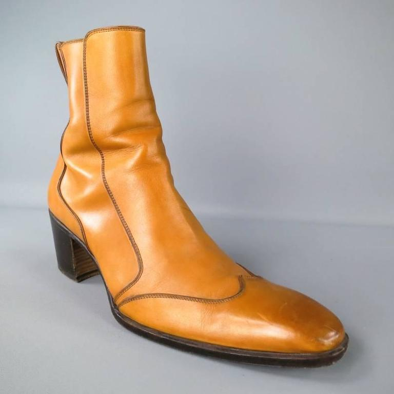 833a9e90d1d YVES SAINT LAURENT Size 11 Tan Leather Johnny Boots In Excellent Condition  For Sale In San