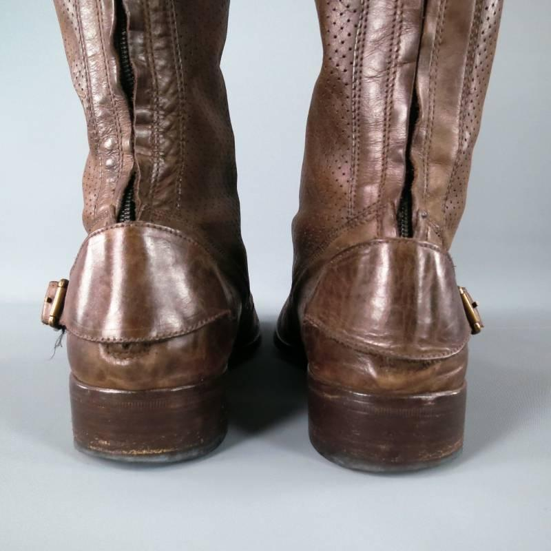 belstaff size 12 brown leather roadmaster boots at 1stdibs