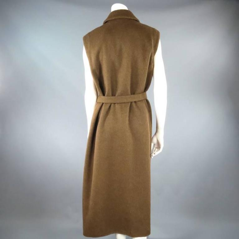 YVES SAINT LAURENT YSL Rive Gauche Size 6 Brown Cashmere Sleeveless Coat New 8