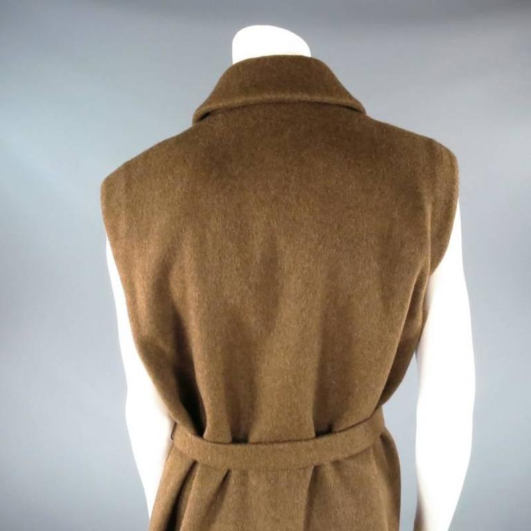 YVES SAINT LAURENT YSL Rive Gauche Size 6 Brown Cashmere Sleeveless Coat New 6