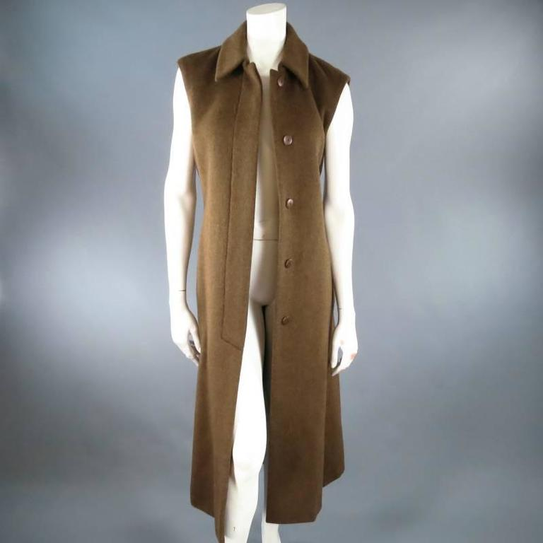 YVES SAINT LAURENT YSL Rive Gauche Size 6 Brown Cashmere Sleeveless Coat New 7
