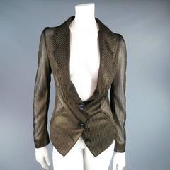 VIVIENNE WESTWOOD Red Label Size L Metallic Gold Mesh Blazer Jacket