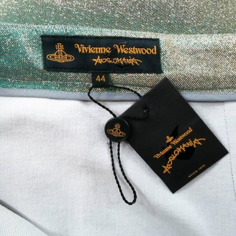VIVIENNE WESTWOOD Anglomania Size 8 Green & Gold Sparkle Lurex Pencil Skirt 7