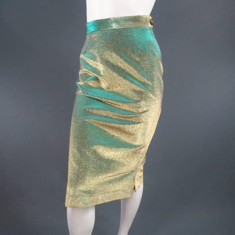 VIVIENNE WESTWOOD Anglomania Size 8 Green & Gold Sparkle Lurex Pencil Skirt 4