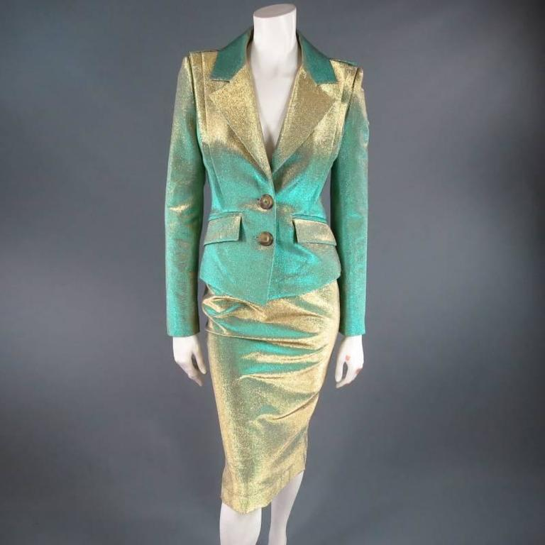 VIVIENNE WESTWOOD Anglomania Size 8 Green & Gold Sparkle Lurex Pencil Skirt 6
