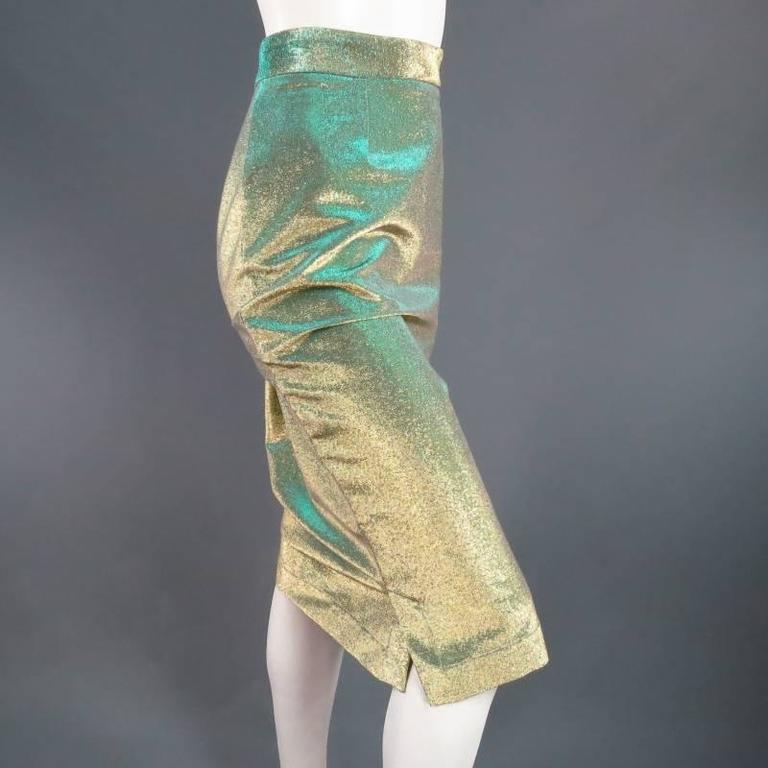 VIVIENNE WESTWOOD Anglomania Size 8 Green & Gold Sparkle Lurex Pencil Skirt 3