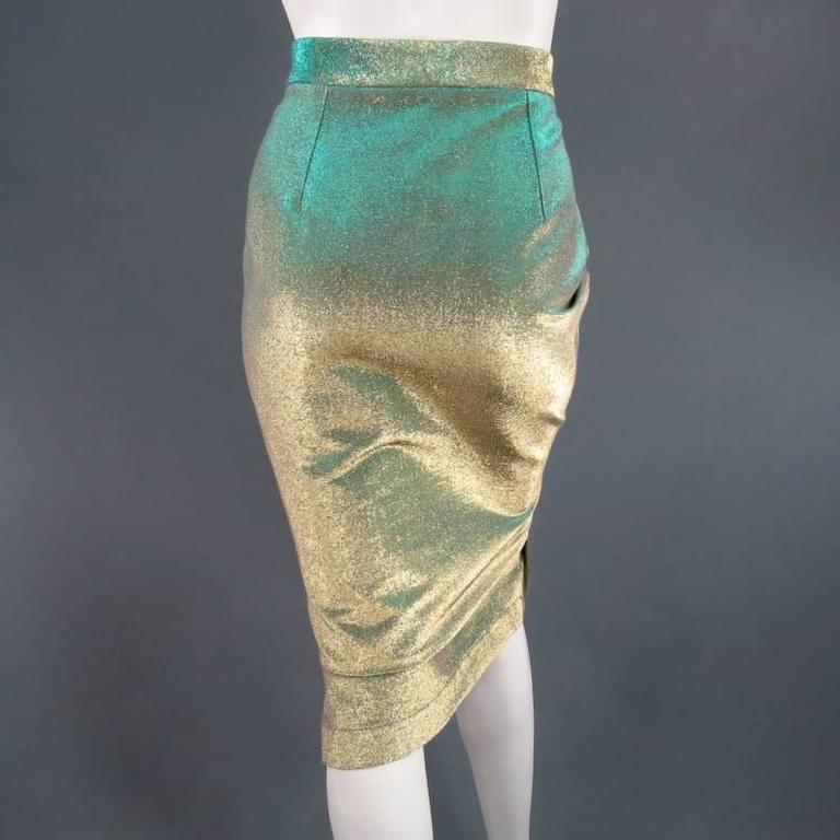 VIVIENNE WESTWOOD Anglomania Size 8 Green & Gold Sparkle Lurex Pencil Skirt 2