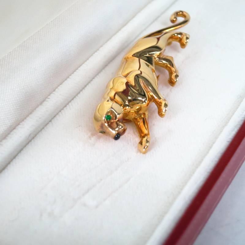 Cartier 18k Yellow Gold Green Emerald Eye Onyx Nose Jaguar