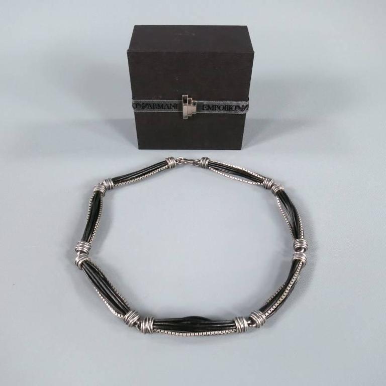 EMPORIO ARMANI Necklace Silver   Black Sterling Silver Leather Chain For  Sale 1 0ee59e866f911