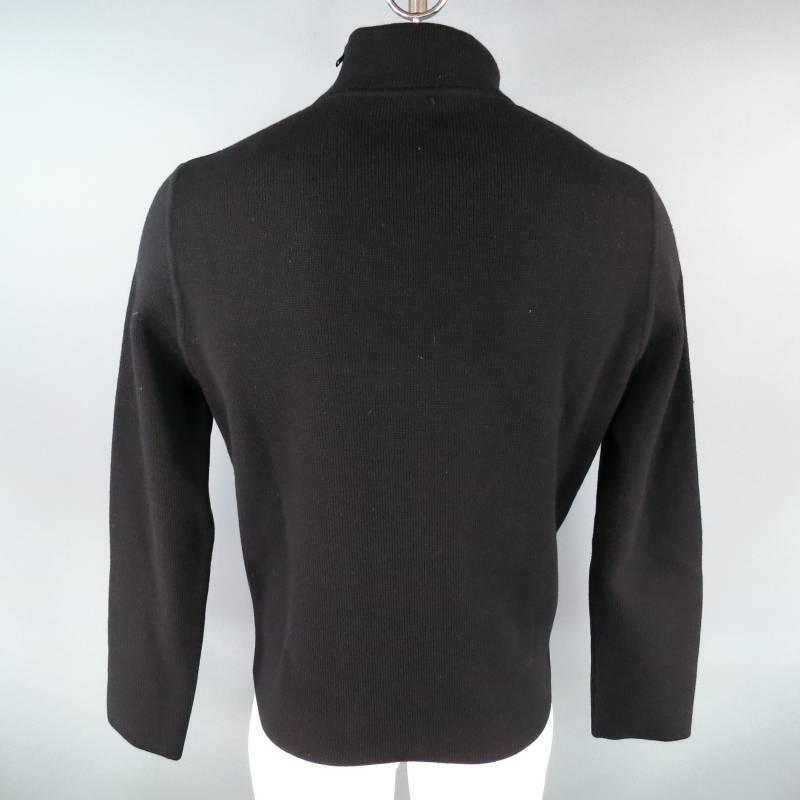 Gucci Size Xl Black Mock Neck Zip Chest Pocket Pullover