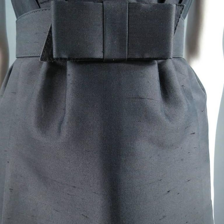 MICHAEL KORS Size 2 Black Wool / Silk Layered Sequin Skirt Cocktail Dress For Sale 6