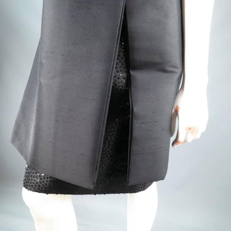 MICHAEL KORS Size 2 Black Wool / Silk Layered Sequin Skirt Cocktail Dress For Sale 1