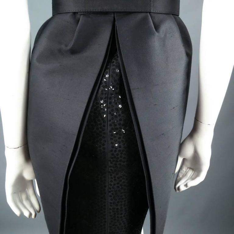 MICHAEL KORS Size 2 Black Wool / Silk Layered Sequin Skirt Cocktail Dress For Sale 5