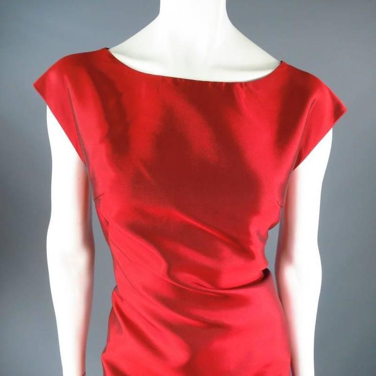 DOLCE & GABBANA Size 12 Red Taffeta Zip Cocktail Dress 4