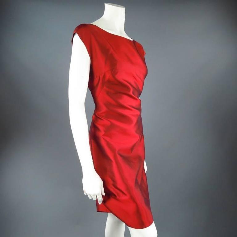DOLCE & GABBANA Size 12 Red Taffeta Zip Cocktail Dress 3