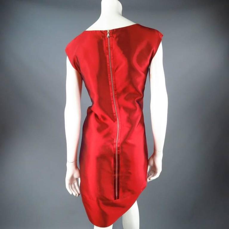 DOLCE & GABBANA Size 12 Red Taffeta Zip Cocktail Dress 5