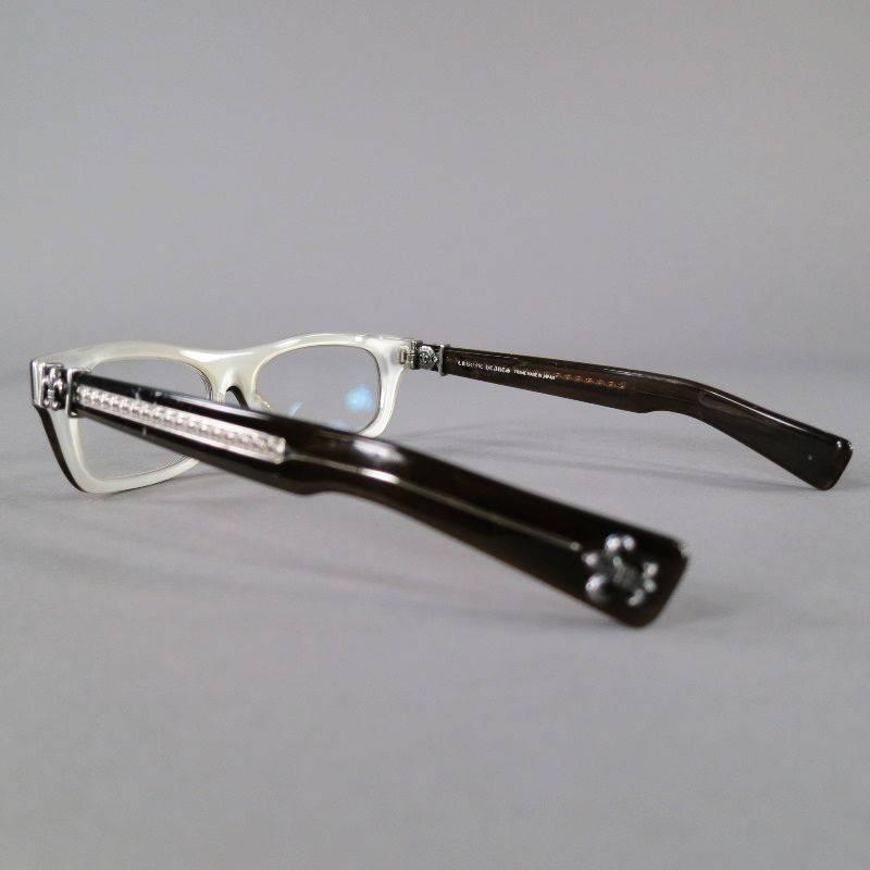 CHROME HEARTS Brown Acetate Sterling Silver Frames T NUC at 1stdibs