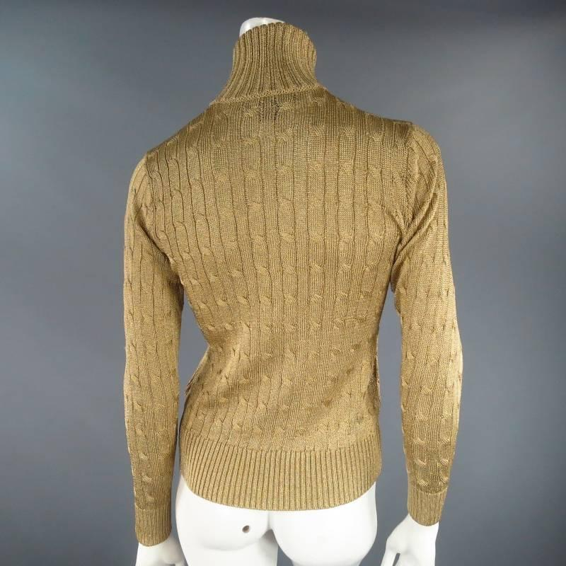 Ralph Lauren Black Label Size S Gold Metallic Cable Knit