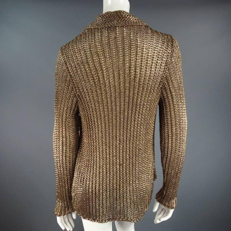 Ralph Lauren Collection Size L Metallic Gold Mesh Knit