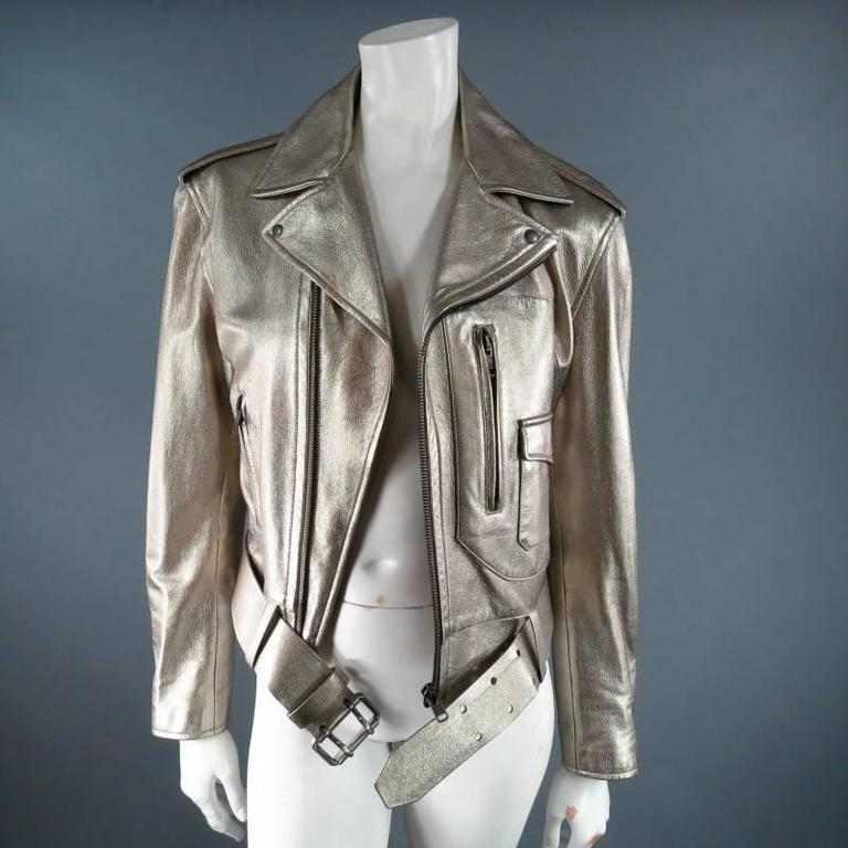 648a20a9f RALPH LAUREN COLLECTION 8 Champagne Silver Metallic Leather Motorcycle  Jacket