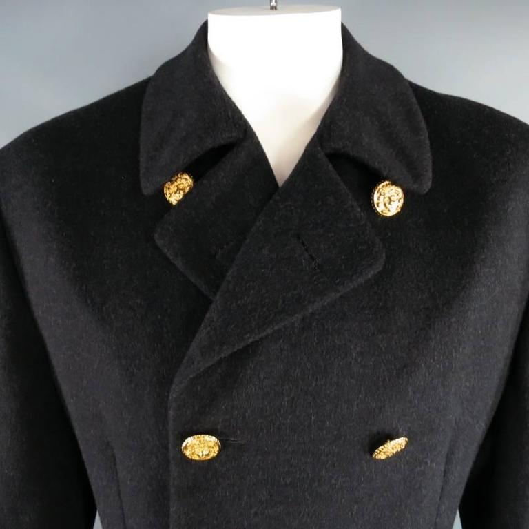 d90711fa Vintage GIANNI VERSACE Men's 40 Charcoal Wool Gold Medusa Button Pea Coat