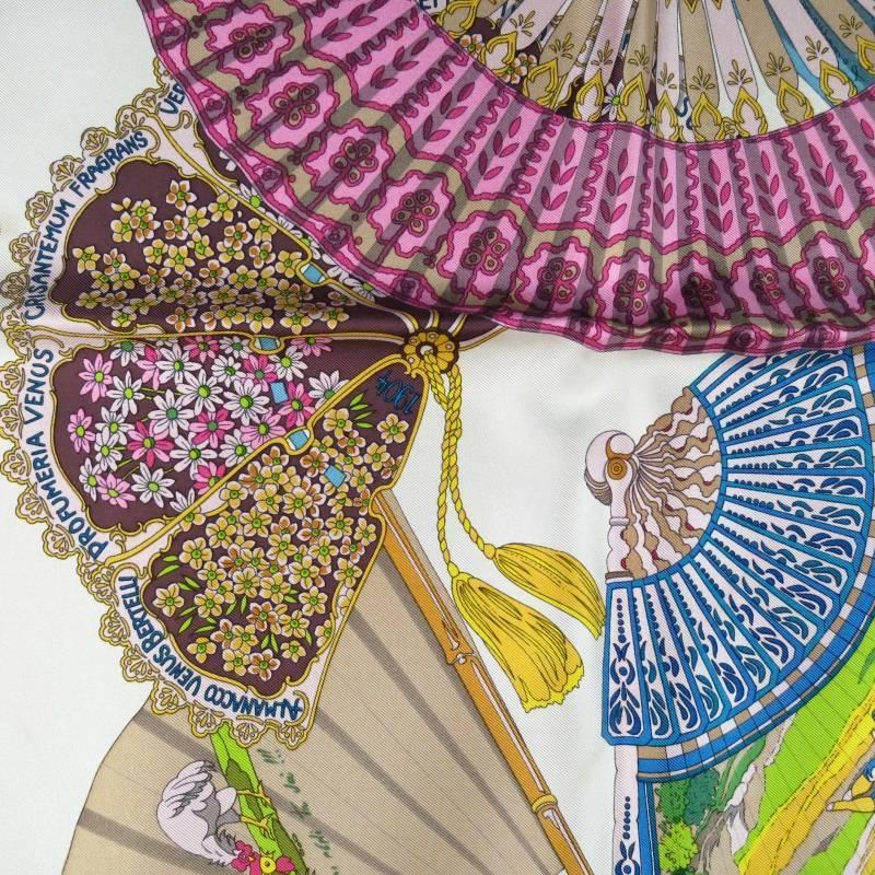 gucci beige silk multi color fans scarves for sale at 1stdibs