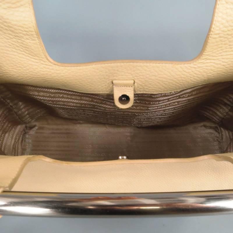 "prada knockoffs handbags - PRADA Beige Leather Metal Bar ""Vitello Daino"" Tote Clutch Handbag ..."