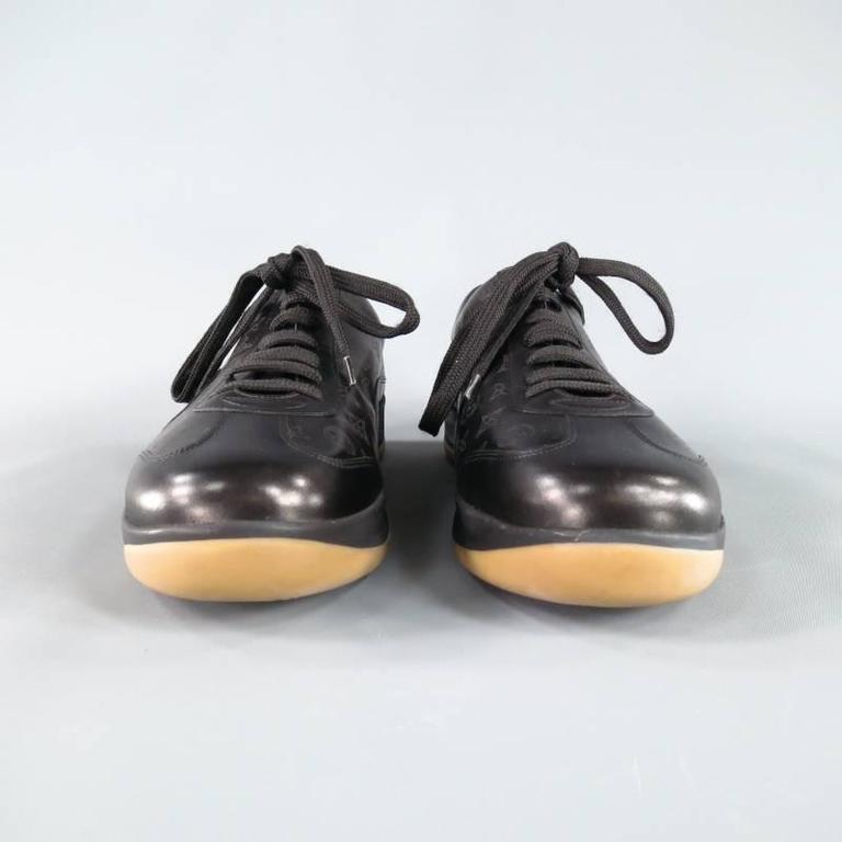 a62d9a363460 Men s LOUIS VUITTON Size 7.5US Black Leather Monogram Thick Sole Sneaker In  Excellent Condition For