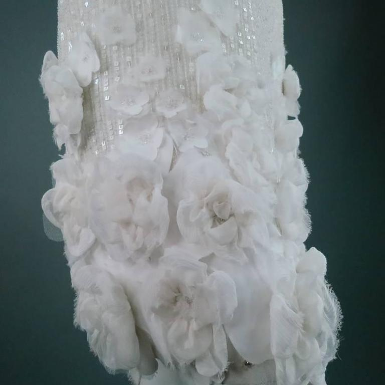 RALPH LAUREN Collection Size 2 White Silk Floral Embellished Beaded A-Line Skirt 4