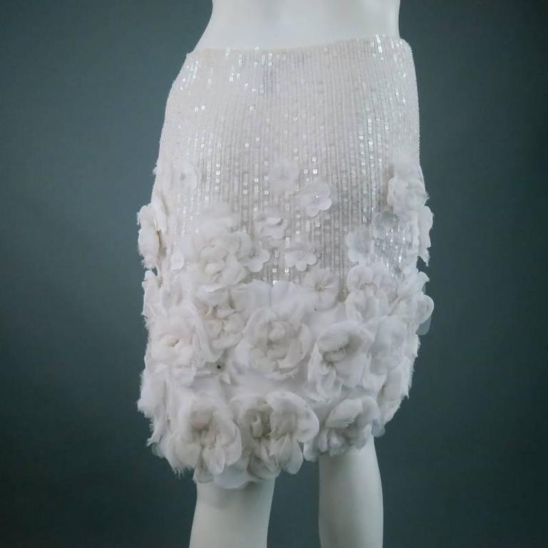 RALPH LAUREN Collection Size 2 White Silk Floral Embellished Beaded A-Line Skirt 3