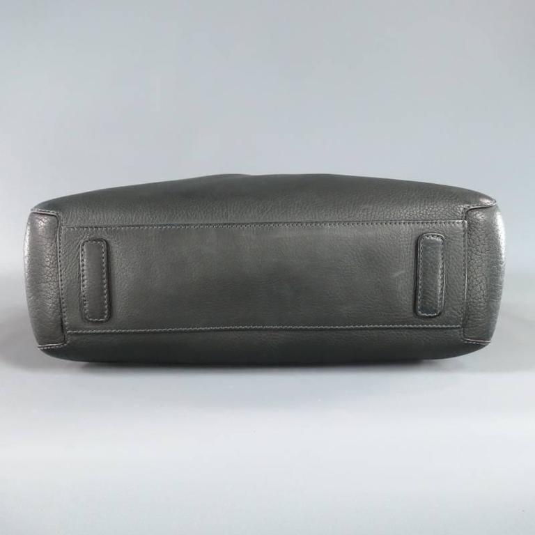 20955b39053b GIORGIO ARMANI Green Leather Top Handles Silver Zip Carry On Bag For Sale 3
