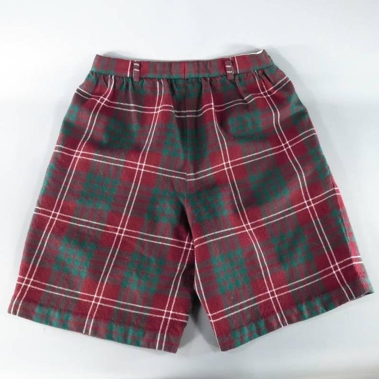 COMME des GARCONS Size 30 Burgundy Green & White Plaid Wool Flannel Shorts 3
