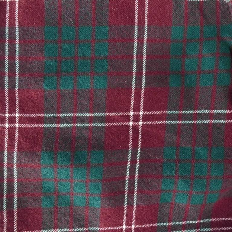 COMME des GARCONS Size 30 Burgundy Green & White Plaid Wool Flannel Shorts 4