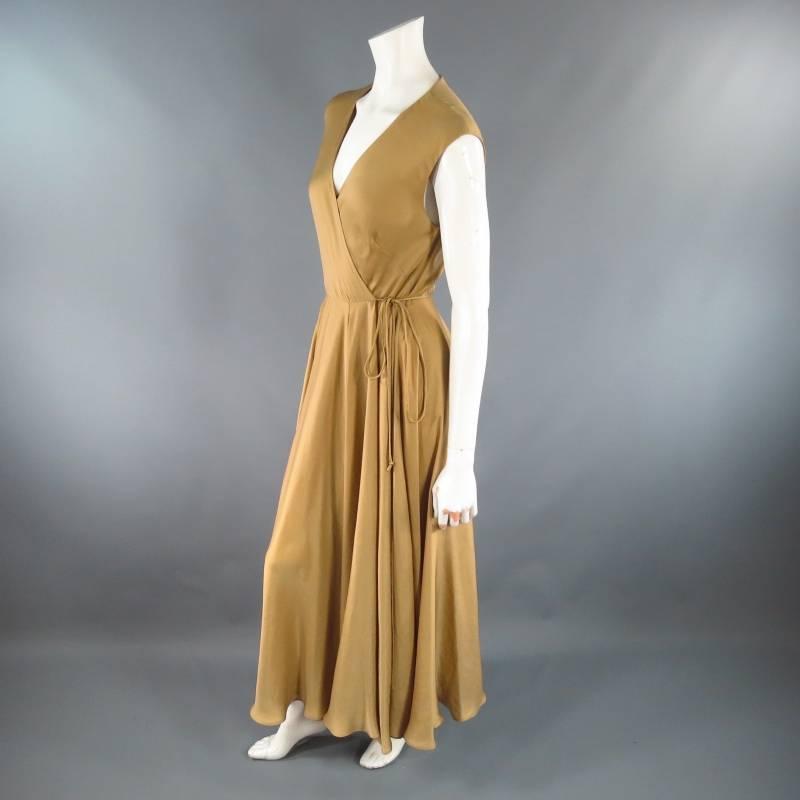 Ralph Lauren Size 6 Gold Silk Lined Satin Wrap Maxi Dress