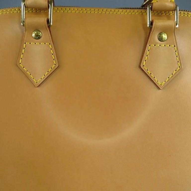LOUIS VUITTON Natural Vachetta Patina Leather ALMA PM Top Handles Bag For Sale 1