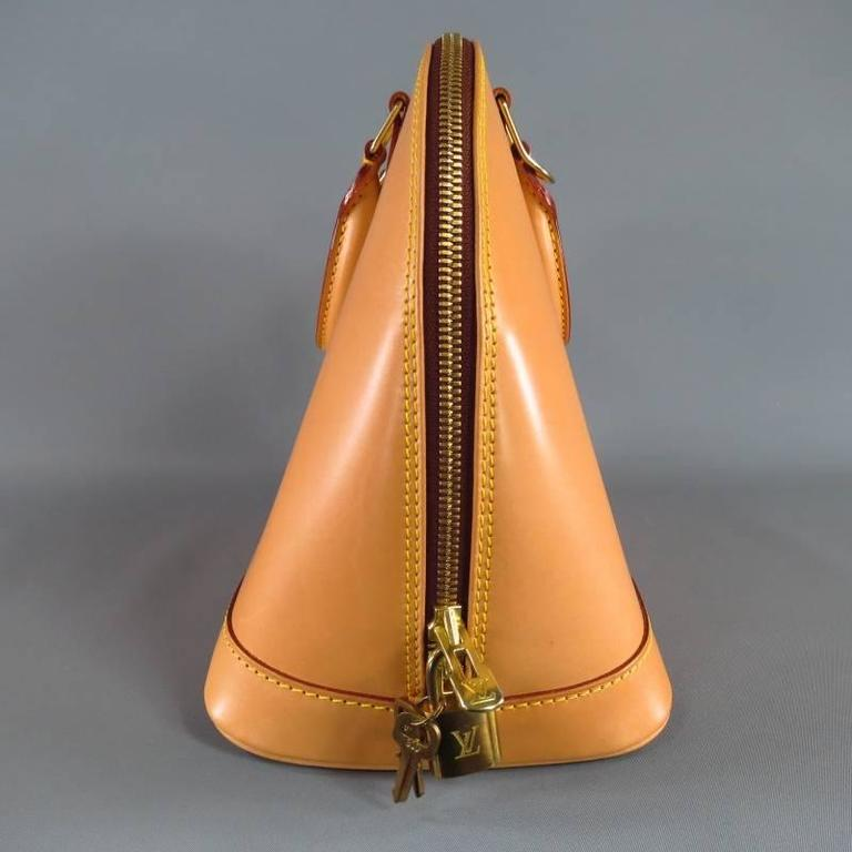 LOUIS VUITTON Natural Vachetta Patina Leather ALMA PM Top Handles Bag In Excellent Condition For Sale In San Francisco, CA