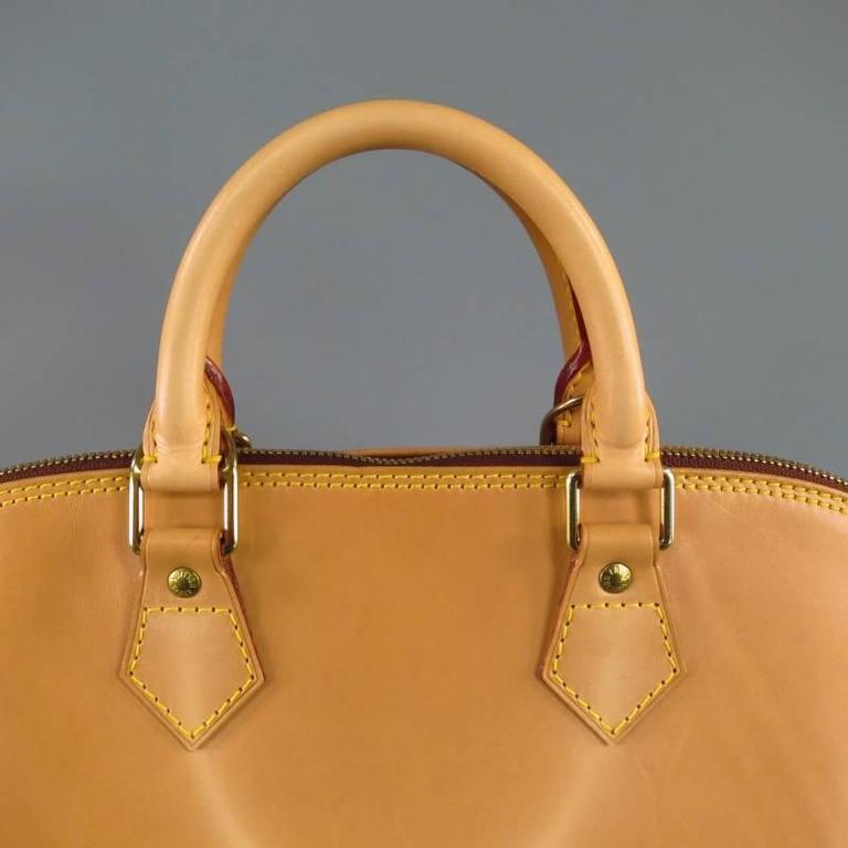 LOUIS VUITTON Natural Vachetta Patina Leather ALMA PM Top Handles Bag For Sale 2