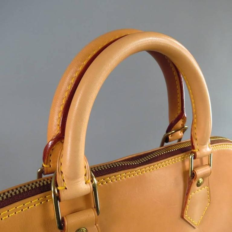 LOUIS VUITTON Natural Vachetta Patina Leather ALMA PM Top Handles Bag For Sale 3