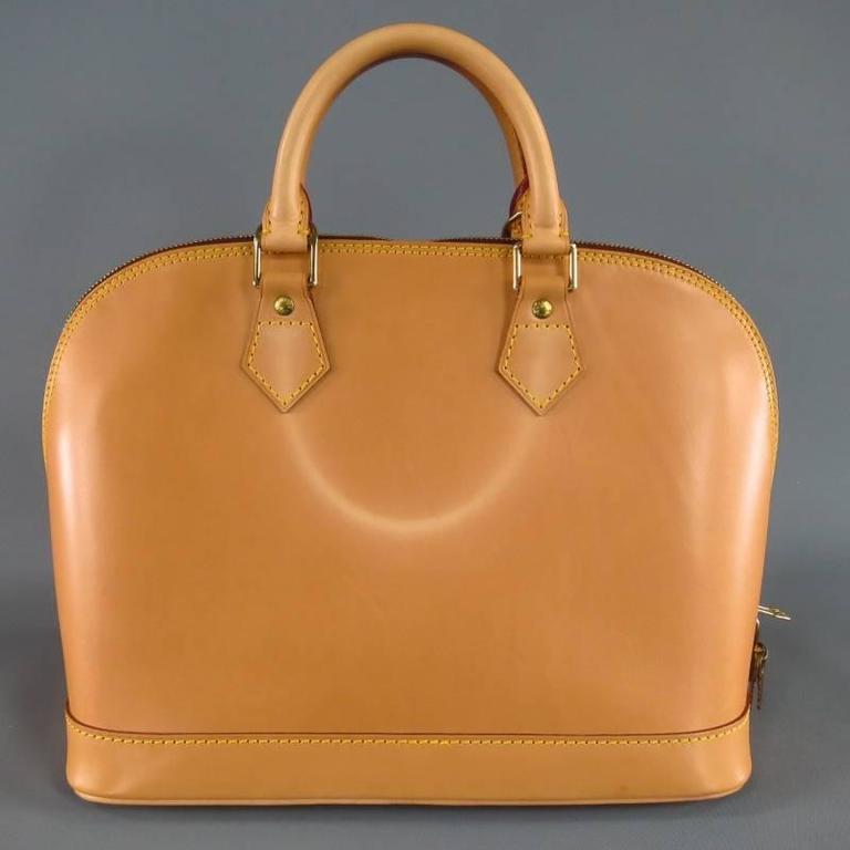 LOUIS VUITTON Natural Vachetta Patina Leather ALMA PM Top Handles Bag 4