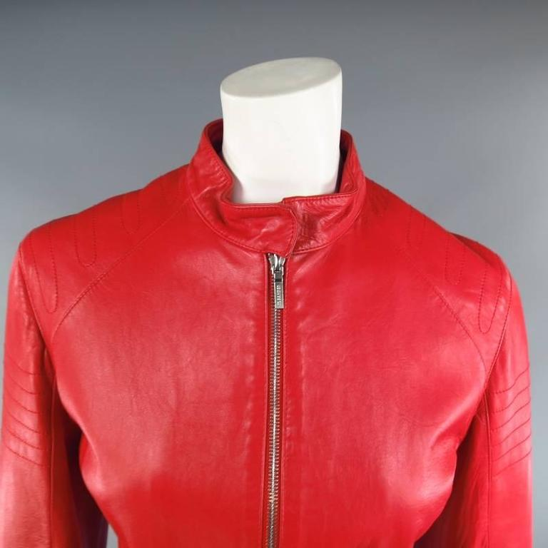 JIL SANDER Size 8 Red Leather Zip Motorcycle Jacket For Sale 3
