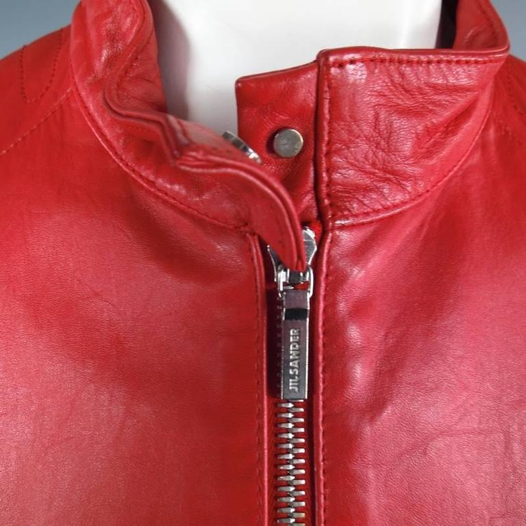 JIL SANDER Size 8 Red Leather Zip Motorcycle Jacket For Sale 2