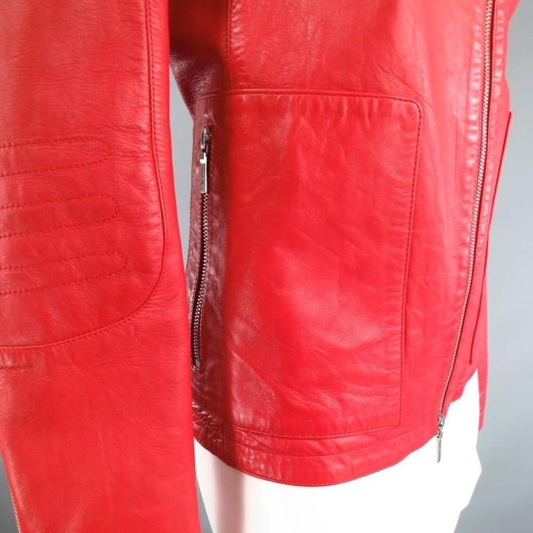 JIL SANDER Size 8 Red Leather Zip Motorcycle Jacket For Sale 6