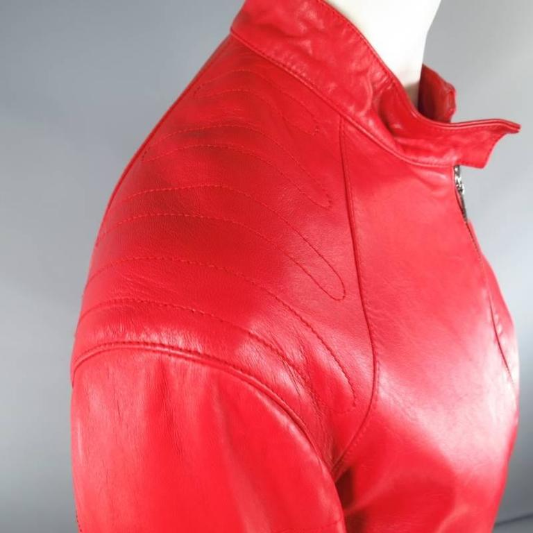 JIL SANDER Size 8 Red Leather Zip Motorcycle Jacket In Good Condition For Sale In San Francisco, CA