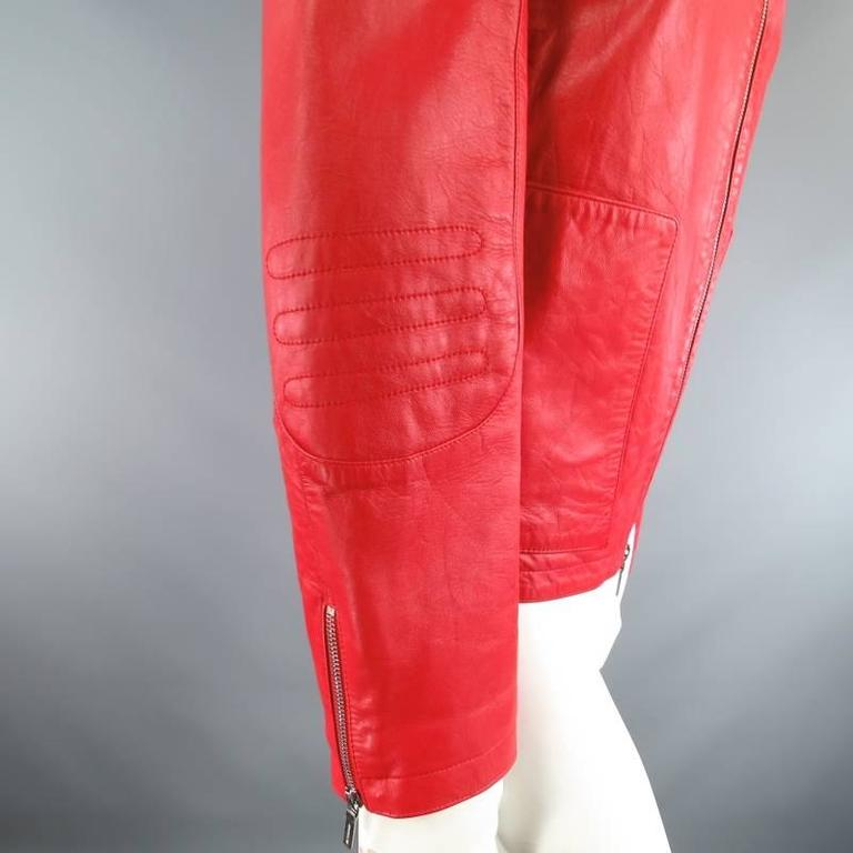 Women's JIL SANDER Size 8 Red Leather Zip Motorcycle Jacket For Sale