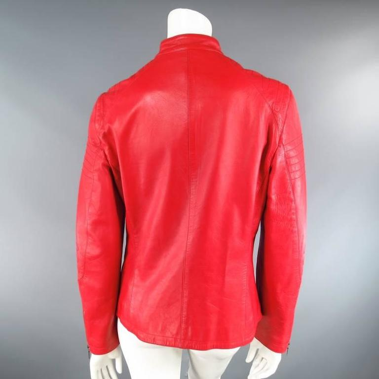 JIL SANDER Size 8 Red Leather Zip Motorcycle Jacket For Sale 1
